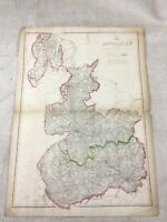 Antique Map Lancashire County 19th Century Old Victorian England Hand Coloured