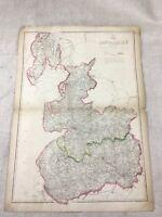 Mappa Antica Lancashire Contea 19th Secolo Vittoriano Inghilterra Mano Colorato