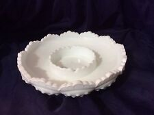 Fenton HOBNAIL MILK GLASS Ashtray Chip & Dip Candle Bowl