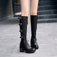 35-43 Womens Buckle Med Block Heels Knee High Boots Lace Up Shoes Platform Retro