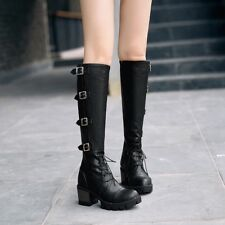 Chic Womens Buckle Med Block Heels Knee High Boots Lace Up Shoes Platform Zip
