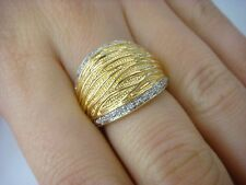 EXQUISITE, 18K YELLOW GOLD LADIES DOME RING WITH 2 ROW OF DIAMONDS, 6.9 GRAMS