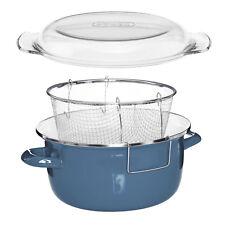 Blue Enamel Glass Pyrex Lid Steel Deep Fryer Chips Frying Fry Pan Pot Basket New