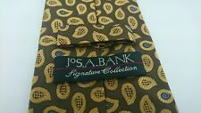 Jos A Bank Signature Collection Brown Paisley 100% Silk Tie Italy W 3.75 L 60