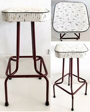 Vintage MCM Swivel Top Bar Stool Chair Atomic Vinyl Metal Mid Century Modern