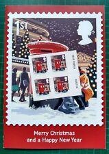 More details for 2018 christmas 1st class matrix intact block of 4 + card