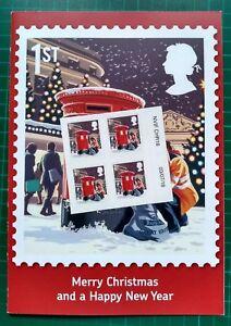 2018 Christmas 1st Class Matrix Intact Block OF 4 + CARD