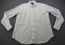 David Donahue Logo Mens White Spread Collar Cotton Dress Shirt  NEW  16  36/37