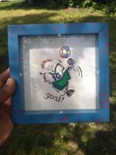 Vintage SOCCER Boy Player Kick GOAL WALL ART by DONNA Framed UNIQUE 7/7 ❤️ ts17j