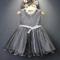 Sequins Sleeveless Baby Girls Toddler Kids Dress Casual Party Wedding age 1-7Y