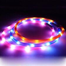 Recargable USB LED Luz Intermitente Banda Glow Cinturón de Seguridad Mascota