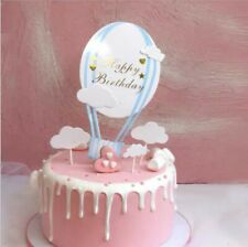 HAPPY BIRTHDAY CAKE PICK TOPPER DECORATION Blue Balloon And Clouds