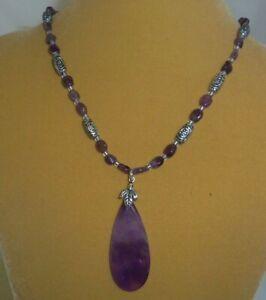 "Amethyst stone beads with teardrop pendant 16"" handmade necklace jewelry N219"
