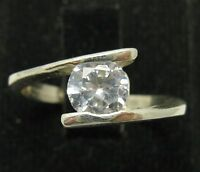 STYLISH STERLING SILVER RING SOLID 925 WITH 6MM ROUND CZ NEW SIZE G - V EMPRESS