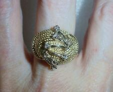 14K YELLOW GOLD VINTAGE DIAMOND DOME RING  -  SIZE 7   -   LB0976