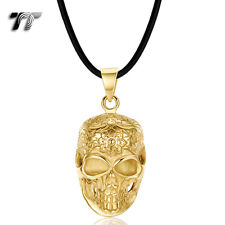 Quality TT 18K Gold Plated Stainless Steel Skull Pendant Necklace (NP346J) NEW