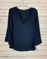 41 Hawthorn Stitch Fix Women's M Medium Navy Black V Neck Long Sleeve Top Blouse