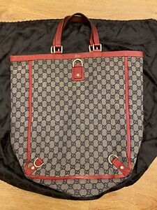 Authentic Gucci Shoulder Bag Tote GG Canvas Monogram USED Red Women