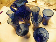 VINTAGE HAND BLOWN SPIRAL SWIRL COBALT BLUE PITCHER AND TUMBLERS,9 PCS..