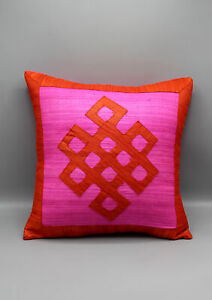 Endless Knot Patchwork Raw Silk Cushion Cover
