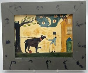 Paige and Larry Koosed Art  Watercolor Primitive Style Man with Dog 1983 Framed