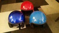 VINTAGE 1977 BUCO Motorcycle Helmets. RARE UMARKED. Blue/Red. LOT OF 3