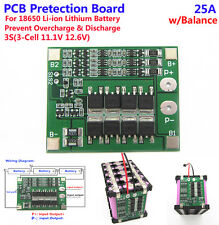 3S 25A 3 cell 11.1V Li-ion Lithium 18650 Battery Protection PCB Board w/ Balance