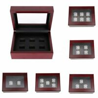 2/3/4/5/6 Slot Wooden Display Box For World Series Stanley Cup Championship Ring