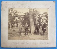 *Original* 4 GENTS IN SUITS BY TREE 1900's Cabinet Photo KODAK CAMERA