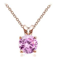 Rose Gold Tone on Silver 2.75ct Pink Cubic Zirconia 9mm Round Solitaire Necklace