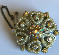 Vintage Art Deco AB Glass And Seed Pearl  Brooch With Safety Chain
