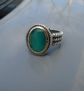 CHUCK CLEMENCY ATR STERLING silver 14 KARAT Gold RING 14K Faceted Green Onyx