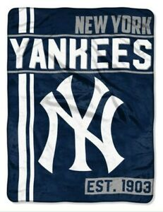"The Northwest MLB New York Yankees Throw Blanket Plush Walk Off 46""x60"" Navy"