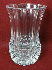 "CRISTAL D'ARQUES Durand crystal LONGCHAMP FLOWER VASE 5"" - heavy weighs 20-oz"
