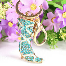 High Boot Shoe Lovely Crystal Charm Pendant Purse Bag Key Ring Chain Accesories