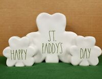 Rae Dunn Happy St. Paddy's Day White Shamrock Home Tabletop Office Decor