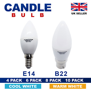 4/6/8 Pack LED CANDLE Bulbs E14 SES B22 Bayonet Energy Saving Warm Cool light