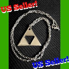 Legend Of Zelda Silver Triforce Metal Charm Necklace Ocarina Of Time Heroes Link