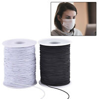 Round Cord Elastic Black White 2mm for Hats Beading Crafts Masks DIY Projects