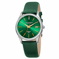 New Women's Akribos XXIV AK879GN Date Diamond Dial Green Leather Strap Watch