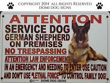"Metal Attention Service Dog German Shepherd Sign For FENCE ,Beware Of Dog 8""x12"""