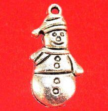 50Pcs. WHOLESALE Tibetan Silver SNOWMAN Christmas Charms Earring Drops Q0534