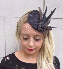 Black Dark Grey Birdcage Veil Statement Feather Fascinator Hat Hair Clip 3317