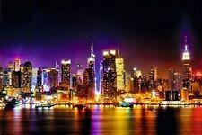 MANHATTAN - REFLECTIONS POSTER - 24x36 NEW YORK CITY NYC LIGHTS 23240