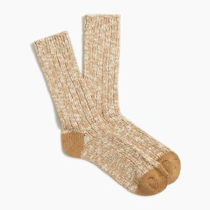 J Crew Camp Socks Marled Camel Cotton Blend One Size