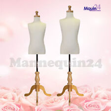 2 Child Dress Form Mannequins for Set for Size 5-6 Yr & 7-8 Yr+ Kid Wooden Bases