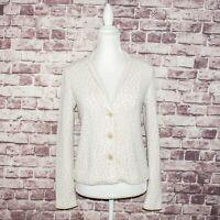 Amina Rubinacci Napoli Women's Blazer Cardigan Beige Print Size 44 Made in Italy