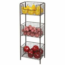 mDesign Vertical Standing Kitchen Pantry Food Shelving with 3 Baskets - Bronze