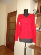 LORD & TAYLOR 100% 2-PLY CASHMERE BRIGHT RED SOFT BUTTONED CARDIGAN-SIZE S