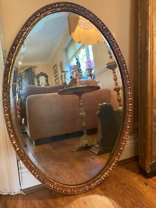 Antique Edwardian Oval shape Mirror with Wooden Gold Frame